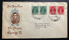 1937 Bombay India First Day Cover FDC To Baltimore Usa King George VI Coronation