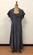 Fabulous Vintage 1940s Navy Printed Taffeta Dress, Size L WOW!