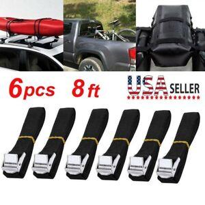 6Pack 8FT Tie Down Straps Ratchet Belt Luggage Bag Cargo Lashing Strap w/Buckle