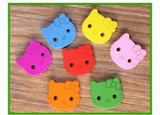Colored Wood Hello Kitty Buttons Art Crafts Kids Sewing Crochets Decorations DIY