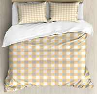 Geometric Duvet Cover Set with Pillow Shams Checkered Shabby Old Print
