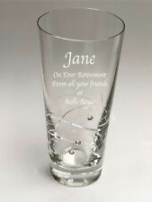 Leaving Thank You Gift Personalised Engraved Diamante Spiral Prosecco Glass