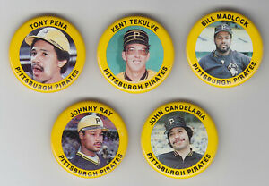 1984 Fun Foods Pins - Pirates - Team Set - Tony Pena - Tekulve - 5Pins - NrMt-Mt