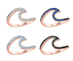 Rose Gold Finish Wave Chevron Birthstone CZ Stackable Silver Ring