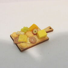 OOAK Cheese & biscuit selection on wooden board ~ Doll House Miniature ~ 1/12