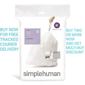 Simple Human Perfect Fit Bin Replacement Liner Bags Code K 20 Pc a Pack