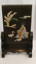 ANTIQUE CHINESE HARDSTONE TABLE SCREEN INSET W/COLORED HARDSTONE PORTRAYAL