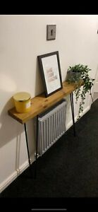 Warm Oak Radiator Console Table with Hairpin Steel Legs ONLY £54.99!