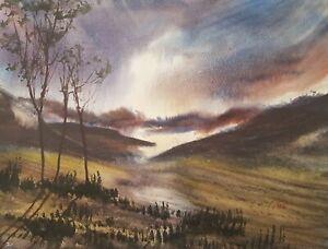 Loch Monar 15x11in Watercolour Painting by Steven Cronin Original Signed Art