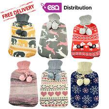 2L Hot Water Bottle Super Soft Fleece Fur Knitted & Novelty Covers
