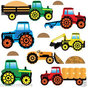Tractors Diggers Wall Art Vinyl Stickers Farm Diggers Vehicle Truck Trac4M