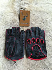 Autohandschuhe Herren Lederhandschuhe Fingerlose Handschuhe Schwarz