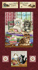 Krafty Kittens w/ Quilting Fabric & Sewing Notions Craft Panel Spectrix #3504