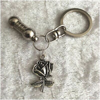 Cremation Jewellery Ashes Urn Keyring w Silver Rose Funeral Keepsake Memorial