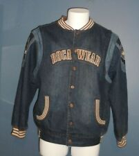 Vintage Rocawear Men's Denim Bomber Varsity Letterman Jacket  Size M Medium