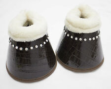 Delfina BROWN FULL Size Patent Leather Horse Bell Boots Brushing Dressage Sport