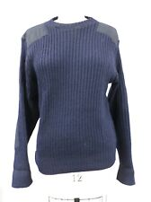 Vintage Navy Blue Ribbed  Wool Shooting Sweater Made In England SZ 46