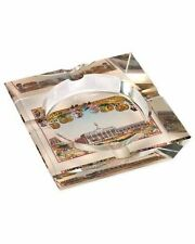 Cuban Vista 4 Cigar Crystal Ashtray Henry Clay Theme in an Attractive Gift Box