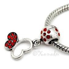 Red Butterfly European Bead - Rhinestone Bead For European Charm Bracelets