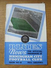 03/12/1957 Birmingham City V SAMPDORIA Friendly [] (grande pezzo di Back Page Miss