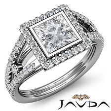 Halo Antique Princess Cut Diamond Engagement Ring EGL G VS2 14k White Gold 1.8ct