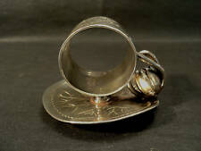 """VICTORIAN SILVER PLATE FIGURAL """"WATER LILY"""" NAPKIN RING"""