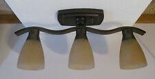 12 VOLT RV Oil Rub Bronze Wavy Creamy Scale Amber Ceiling Dinette Light Lamp