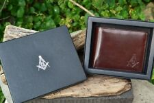 Masonic Brown Leather Bi-Fold Wallet - Mason - Embossed Square and Compasses