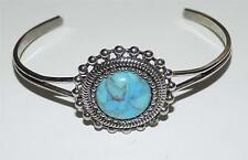 PRETTY SILVER INDIAN STYLE TURQUOISE CUFF BRACELET
