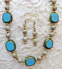 "TURQUOISE CZECH FLAT BEAD, GLASS PEARL necklace, earrings 18"""