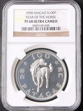 Macau 1990 Macao 100 Patacas Lunar Year of HORSE Silver 1oz Coin NGC PF68