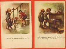 Série de 2 Cartes Postales -- Dessin -- illustrateur.Poulbot -- Réf.A.52