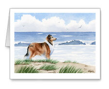 Collie At The Beach Set of 10 Note Cards With Envelopes