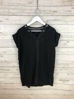 ALLSAINTS DALIA TEE Dress - Size UK6 - Leather Trim - Great Condition - Women's