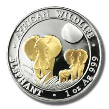 2014 Somalia Elephant 100 Shilling 1oz Gold-plated Prooflike Silver Coin