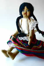 Vintage Oil Cloth Doll,  Hinged Arms and Legs, Ethnic Doll