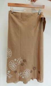 SISLEY WRAP OVER BROWN FLORAL SKIRT – SIZE 12 APPROX