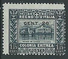 1916 ERITREA SOPRASTAMPATO 20 SU 15 CENT VARIETà SOPRASTAMPA MNH ** - M25-8