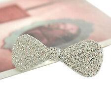 lady Silver Metal Rhinestone Bow Hair Clip Barrette Headwear Hair Accessories