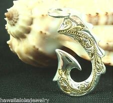 23mm Hawaiian 2-T STER Silver 14k Yellow Gold Tribal Scrolls Fish Hook Pendant