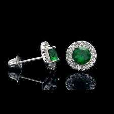 1CT Halo Green Emerald Created Diamond Earrings 14k White Gold Screwback Studs