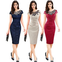 Womens Lace Embroidery Cap Sleeve Formal Wedding Evening Party Bodycon Dress