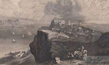 Lissabon vom Fort Almeida jenseits des Tajo. aus Meyers Universum: Stahlstich