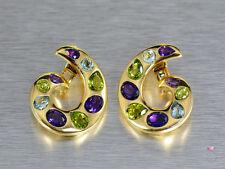 Chanel 18K Gemstone Clip Earrings, Aquamarine, Amethyst and Peridot. Yellow Gold