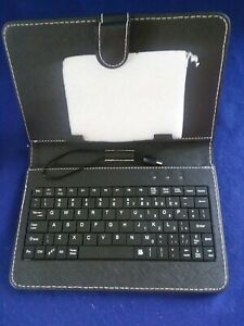 "Universal Tablet Keyboard Case Folio Cover Micro USB Cable Fits 4"" - 5"" Devices"