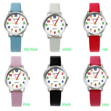 Kids children easy to learn timing synthetic leather strap quartz wrist watch