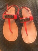 Coach Leather Orange Red Color 8.5 Sandals Excellent