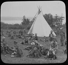 Glass Magic Lantern Slide IROQUOIS INDIANS PAGEANT 1908 QUEBEC PHOTO CANADA