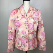Villager Liz Claiborne Jacket Blazer Size 14 Floral Spring Textured Button Front