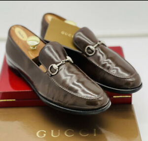 Gucci mens loafers brown 11 sliver horse bit buckle executive leather slip on